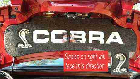 Click on Picture to Enlarge. 1999-2004 Ford Mustang Cobra. Plexi Mirror Cobra letters with SNAKE logo on either side of letters