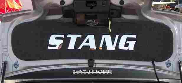 "Click on Picture to Enlarge.  Plexi Mirror ""STANG"" letter trunk lid mat for the 2005 and up Ford Mustang"